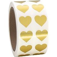 "Gold Heart Shaped Sticker Labels, 1/2"" Diameter, 1000 per Roll.5 inch"