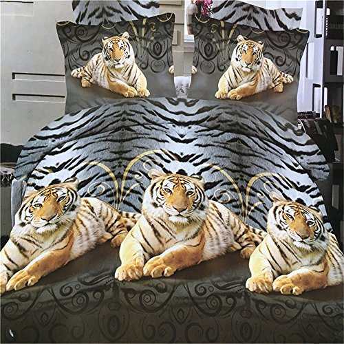 Jameswish Gorgeous 3D Bedding Sets Microsoft Polyester Digital Printing Animal Lion Tiger Fade Resistant Cheap 4-Piece Including 1Duvet Cover 1Flat Sheet 2Pillowcases Full/Queen (Gorgeous Printing)