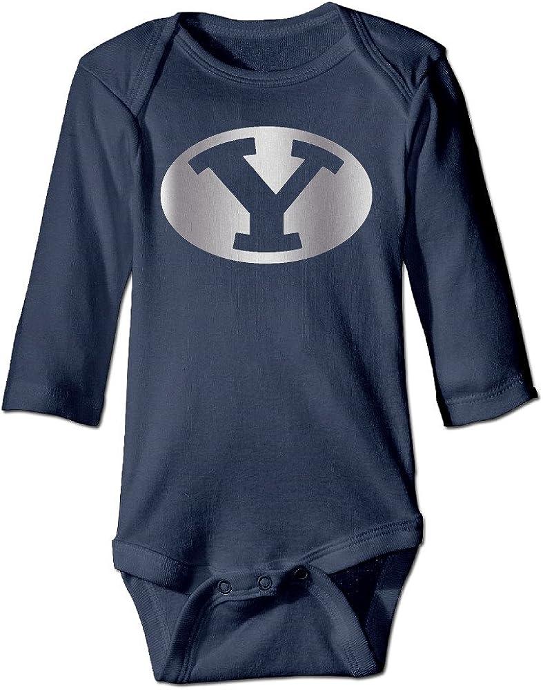 Baby Boys Girls BYU Cougars Platinum Logo Long-Sleeve Romper Jumpsuit