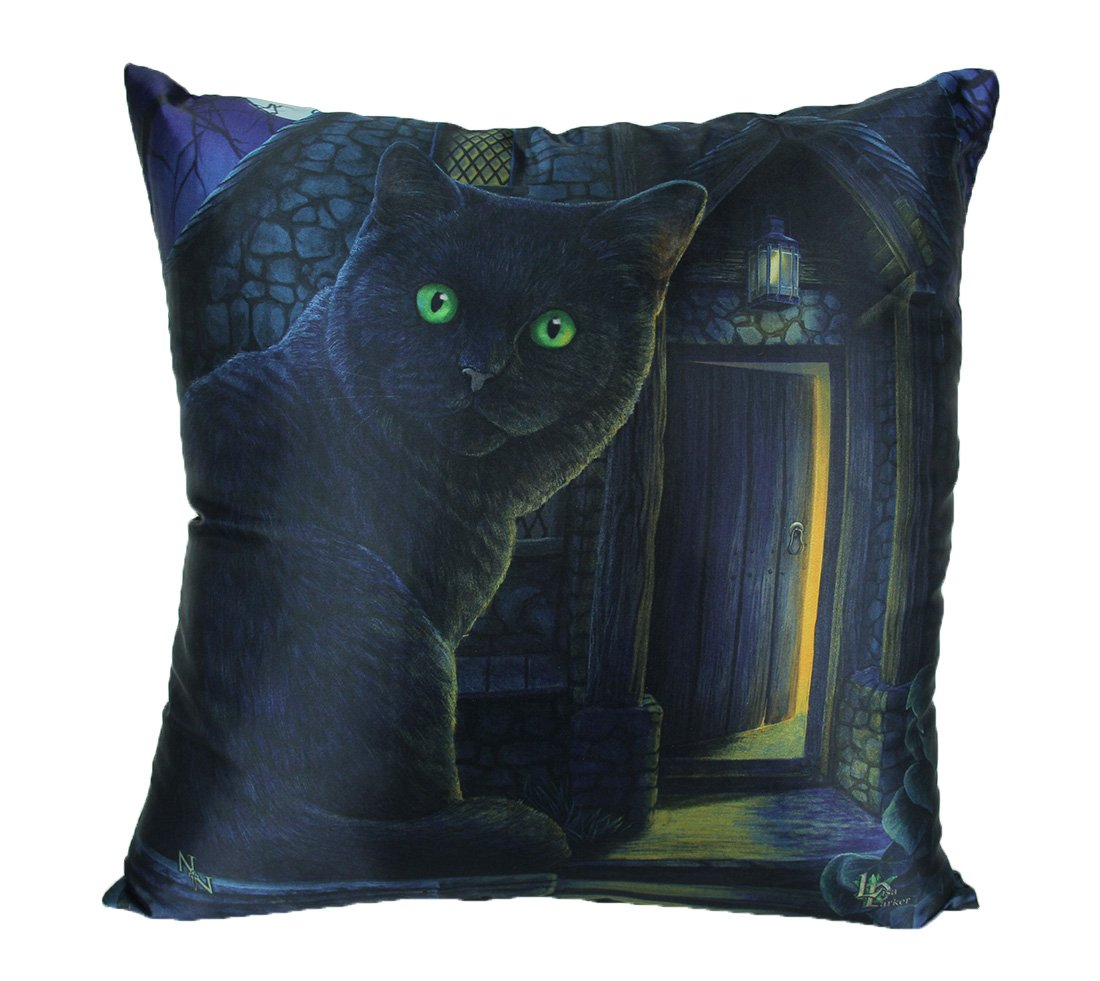 Zeckos Lisa Parker What Lies Within 16 Inch Black Cat Throw Pillow
