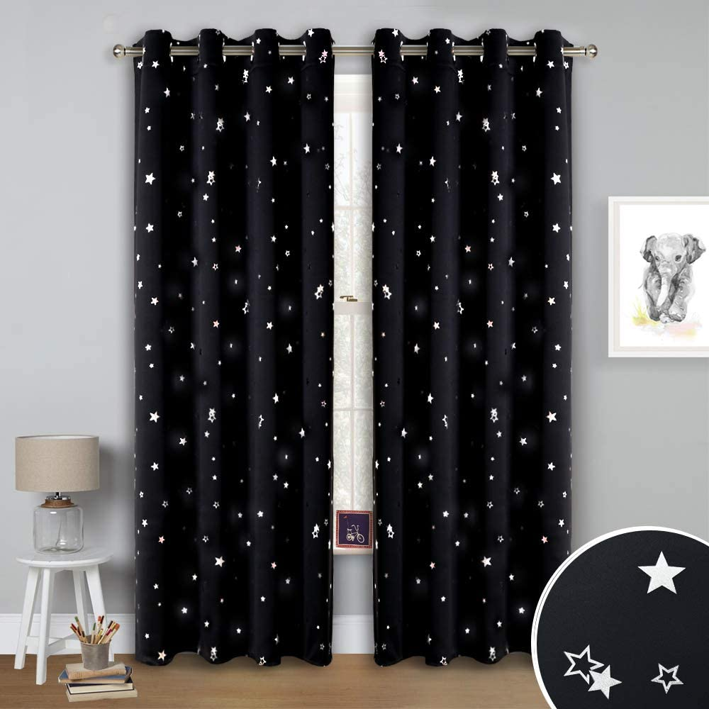 Printed Sliver Glitter Star Patterned Panels to Block Sunlight 52 Width by 54 Length, Dark Blue, 2 Pcs NICETOWN Boys Room Star Curtains