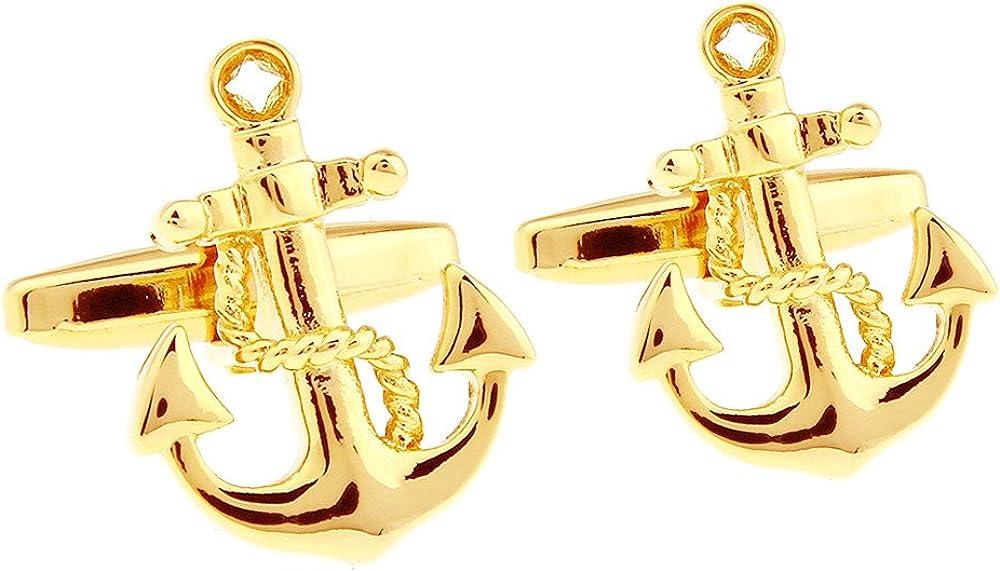 Honey Bear Cufflinks for Men - Vintage Boat Anchor Sailors Ocean, Stainless Steel Wedding Gift