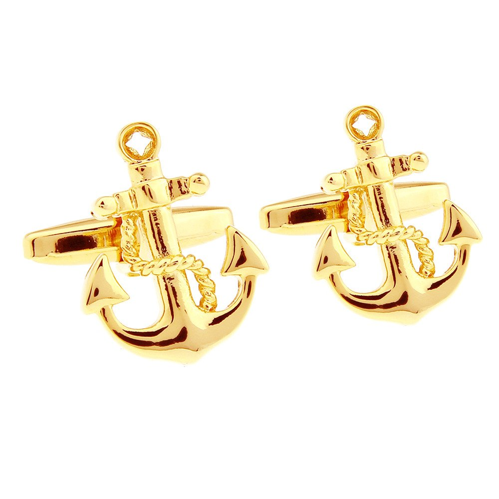 Vintage Mens Boat Anchor Sailors Ocean Cufflinks Wedding Gift Kardex 5701000138-Golden