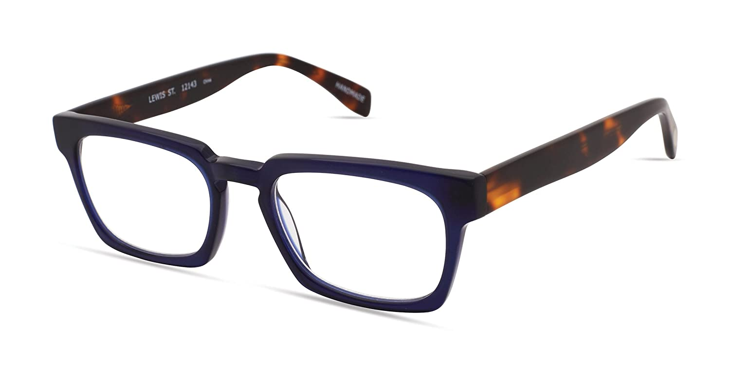 1f595862f30a Amazon.com  Lewis Street - Rectangular Trendy Fashion Reading Glasses for  Men and Women - Harbor Blue (+1.00 Magnification Power)  Clothing