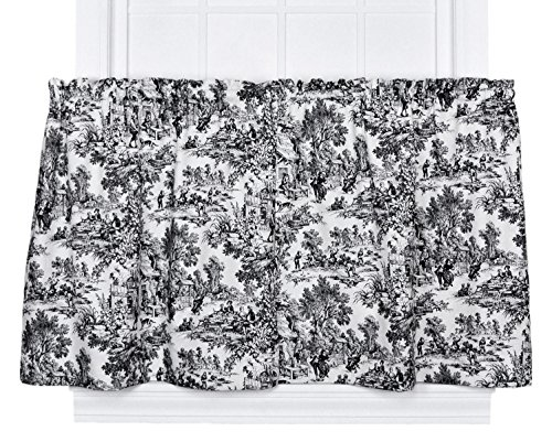 (Victoria Park Toile 68-Inch-by-36 Inch Tailored Tier Curtains, Black)
