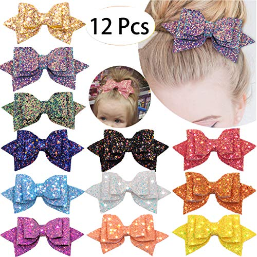 12 Pieces 5 Inches Glitter Hair Bows Boutique Alligator Hair Clips Glitter Sequins Big Bows Clips For Baby Girls Teens Toddlers ()