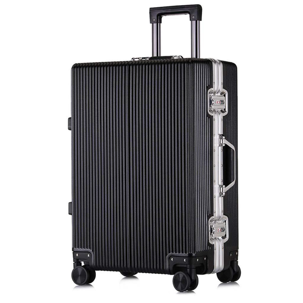 トロリーカスタムダブルローキャスター荷物ビジネス旅行20インチチェックインボード。 (Color : ブラック, Size : 20 inches)   B07QZV3LYM