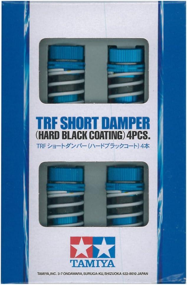 Tamiya 42273 TRF - Amortiguador de Aluminio (Corto, 4 Unidades), Color Negro