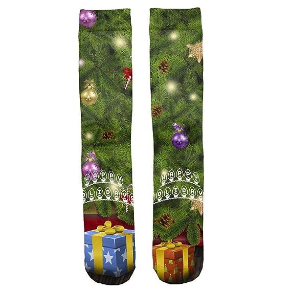 Miss Fortan Calcetines Largos Estampados de Navidad de Impresión 3D Art Print Divertidos Unisex Media para Hombres Mujeres y Muchachos Elásticos Compresión ...