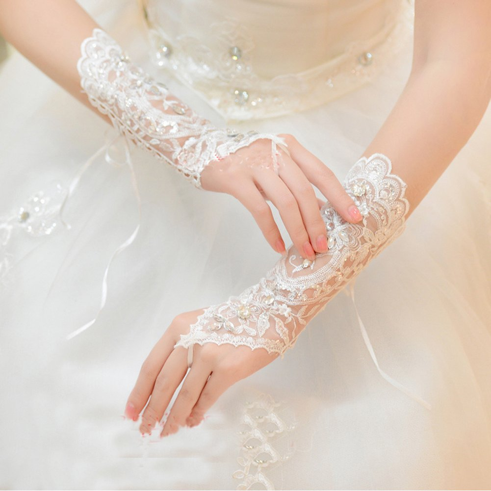 ShineGown Damen Lange H/äkelspitze Perlen Fingerlose Braut Hochzeit Handschuhe Wei/ß Elfenbein