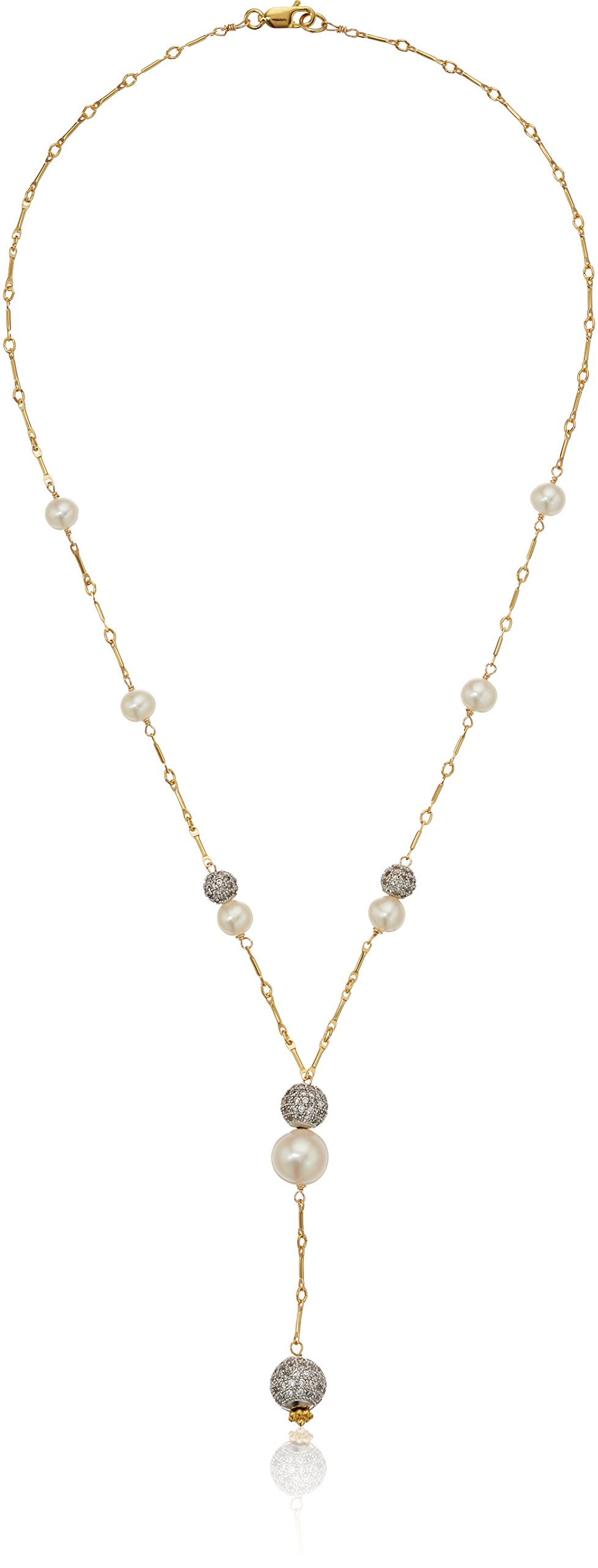 Gold Over Silver Bar Chain Necklace with Pave Cubic Zirconia and White Cultured Freshwater Pearl Stations Y-Shaped Necklace, 18''
