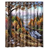 Best River's Edge Homes Curtains - Custom Popular River Edge Deers Shower Curtains 60