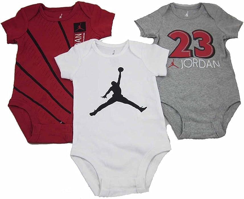 2eb28a668 Amazon.com: Baby Boy Air Jordan 23 Infant Bodysuits Romper 3 Pack (0 ...