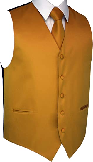 Men/'s Cognac Satin Formal Dress Tuxedo Vest Prom Tie /& Hankie Set Wedding