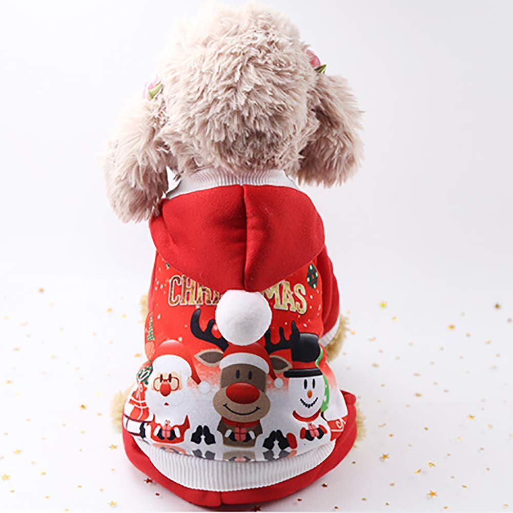 Yevison Premium Quality Christmas Pet Clothes Dog Cat Costume Apparel Puppy Fashion Cute Hoodied Sweat Shirts