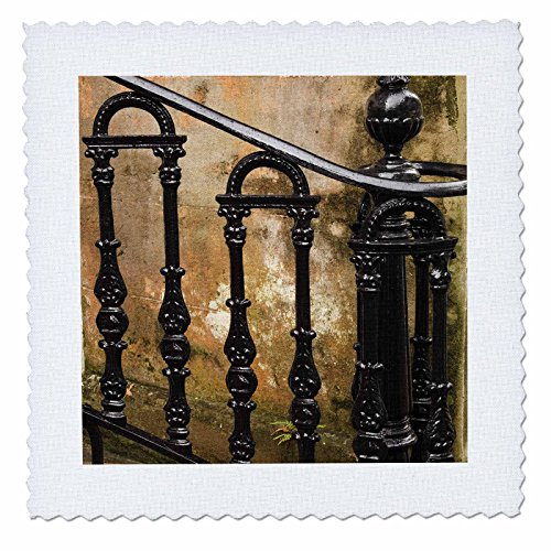 - 3dRose qs_89374_3 Georgia, Savannah. Wrought Iron Railing - US11 JWL0189 - Joanne Wells - Quilt Square, 8 by 8-Inch