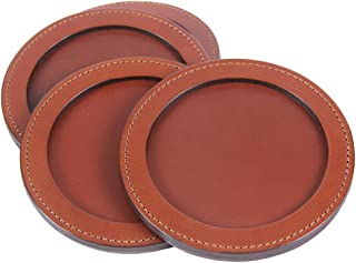 product image for Col. Littleton Genuine Leather Round Coasters | USA Made | Set of 4 | Brown