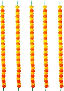 5 Pack Artificial Marigold Flower Garlands String Yellow and Dark Orange 5 Feet Long (30 Flowers in Each String) Each for Parties Indian Weddings Theme Decorations Home Decoration Festival