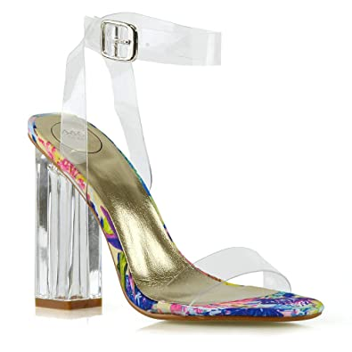 cdc0b355ab9 ESSEX GLAM Womens Ankle Strap Clear Heel Peep Toe Perspex Sandals (5 B(M