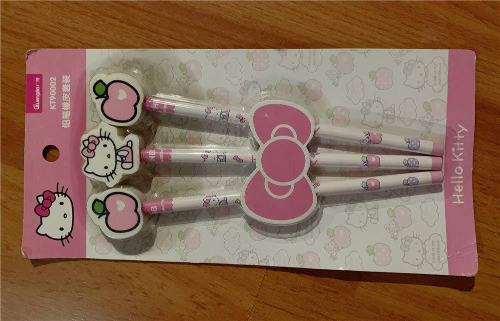 Yefashion 3pcs Hello Kitty Pencils+erasers Apple Girl Kid School Stationery Drawing Painting