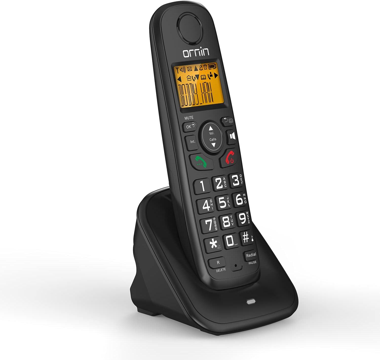 Ornin D1001 Cordless Home Phone, DECT 6.0 (Single Pack, Black)
