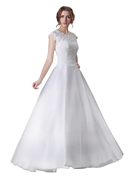 Adasbridal-Glamorous Tul escote de joya A- linea de vestido de novia con apliques