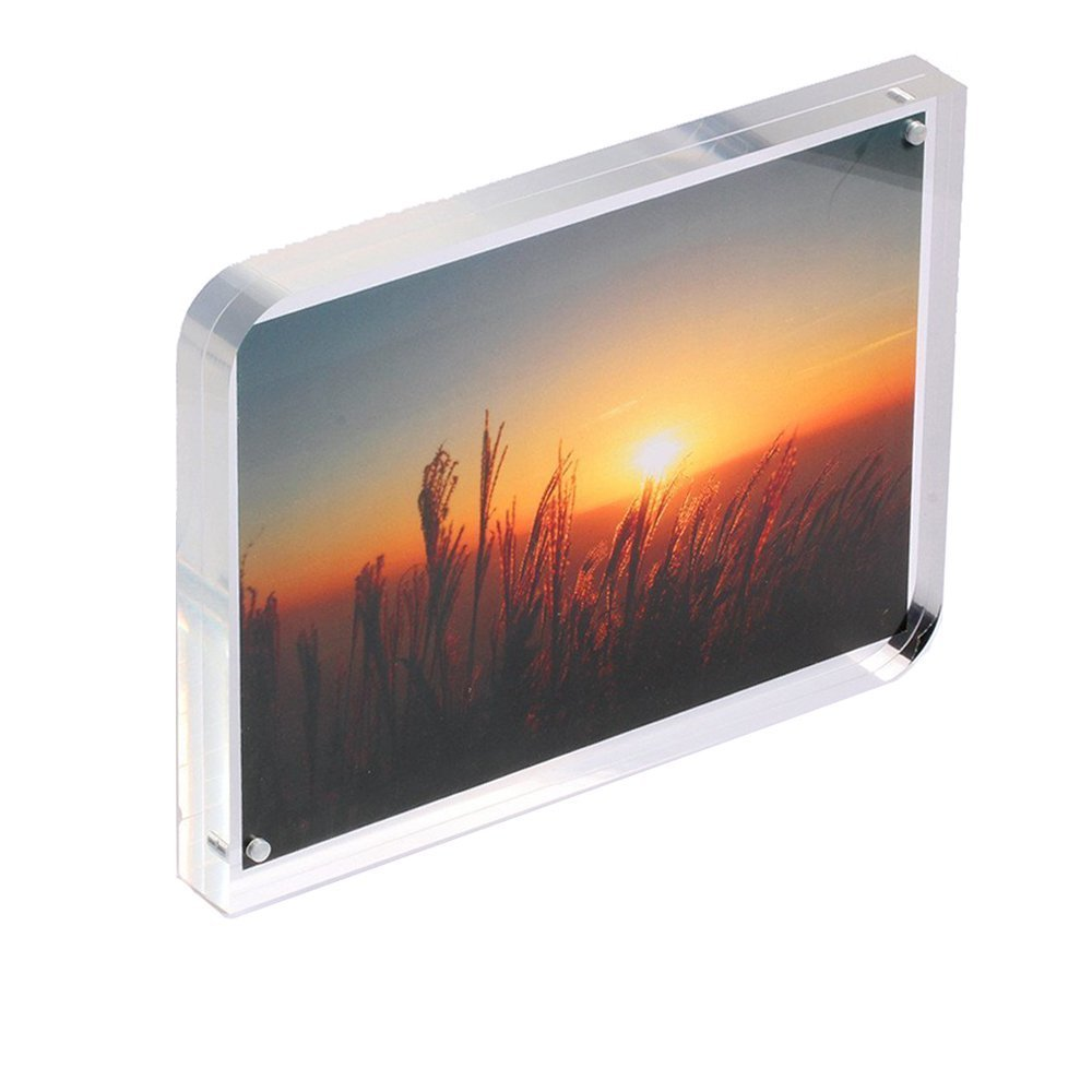 iNINJA(TM)8 x 12 inch Crystal-Clear Magnetic Acrylic Picture Frame, Free Stand on Desk 2 Round Edge Double Sides Picture Display Magnet Photo Frame, 2*10 mm Thickness