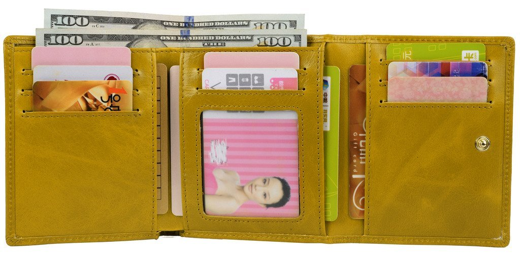 YALUXE Women's Compact Small Leather Tri-fold Wallet with Zipper Pocket(Gift Box) Yellow by YALUXE (Image #1)