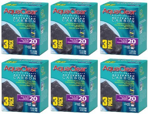 (6 Pack) Aqua Clear Activated Carbon Filter Insert for 20-Gallon Aquariums (3 Filter Inserts Per Pack / 18 Total Inserts)