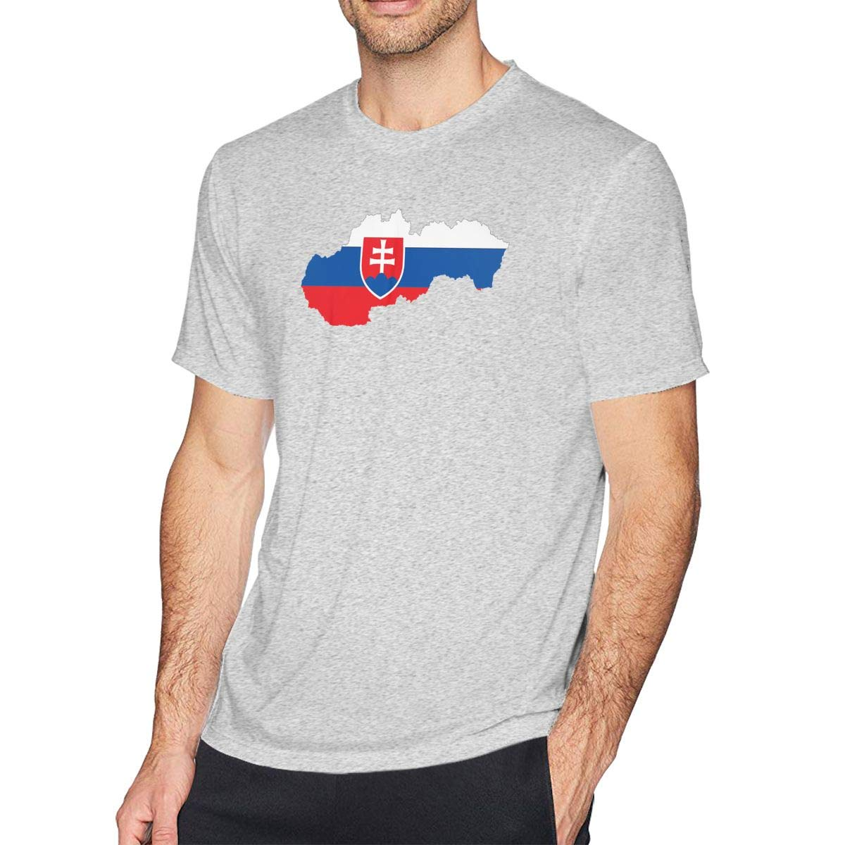 MSKKLA Flag and Map of Slovakia Slim-fit T-Shirt Mens Loose-Fit Round Collar T-Shirts T Shirts Size:S-6XL
