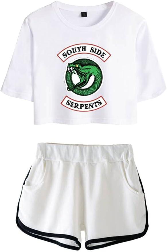 Image ofOLIPHEE Camisa de Riverdale Impresa Serpiente con Pantalones Cortos de Verano para Mujer