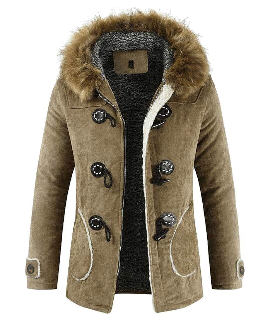 Bigbarry Mens Casual Toggle Faux Fur Hood Fleece Lined Parka Jacket Coat