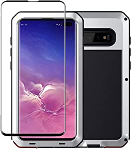 Tomplus Galaxy S10 Plus Case, Military Grade Drop Tested, Anodized Aluminum, Heavy Duty, Full-Body Dual Layer Rugged, TPU and Metal Protective Case for Samsung Galaxy S10 Plus (Silver)