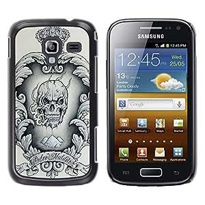 Shell-Star Arte & diseño plástico duro Fundas Cover Cubre Hard Case Cover para Samsung Galaxy Ace 2 I8160 / Ace2 II XS7560M ( Crown Black White Drugs Skull Smoke )