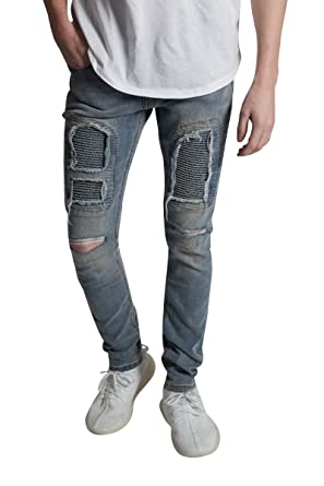 92e6874343b KDNK Distressed Moto Patch Jeans at Amazon Men's Clothing store: