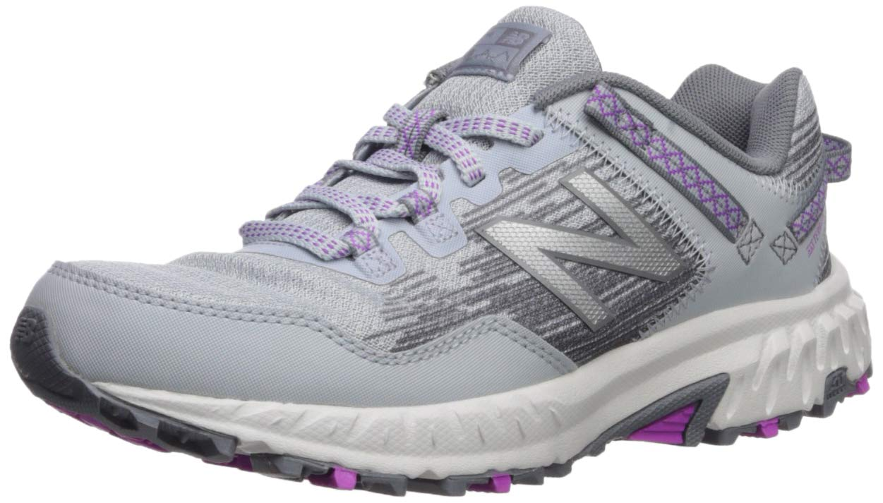 New Balance Women's 410v6 Cushioning Trail Running Shoe, Light Cyclone/Gunmetal/Voltage Violet, 5 W US
