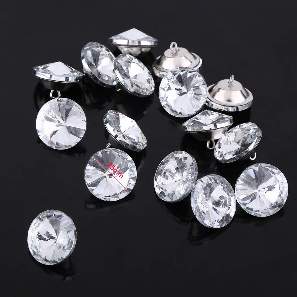 50Pcs Crystal Buttons DIY Rhinestone Crystal Clear Fastening Upholstery Buttons Sewing Sofa Craft Decoration Accessories
