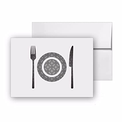 Amazon Com Restaurant Cafe Plate Eating Dining Blank Card