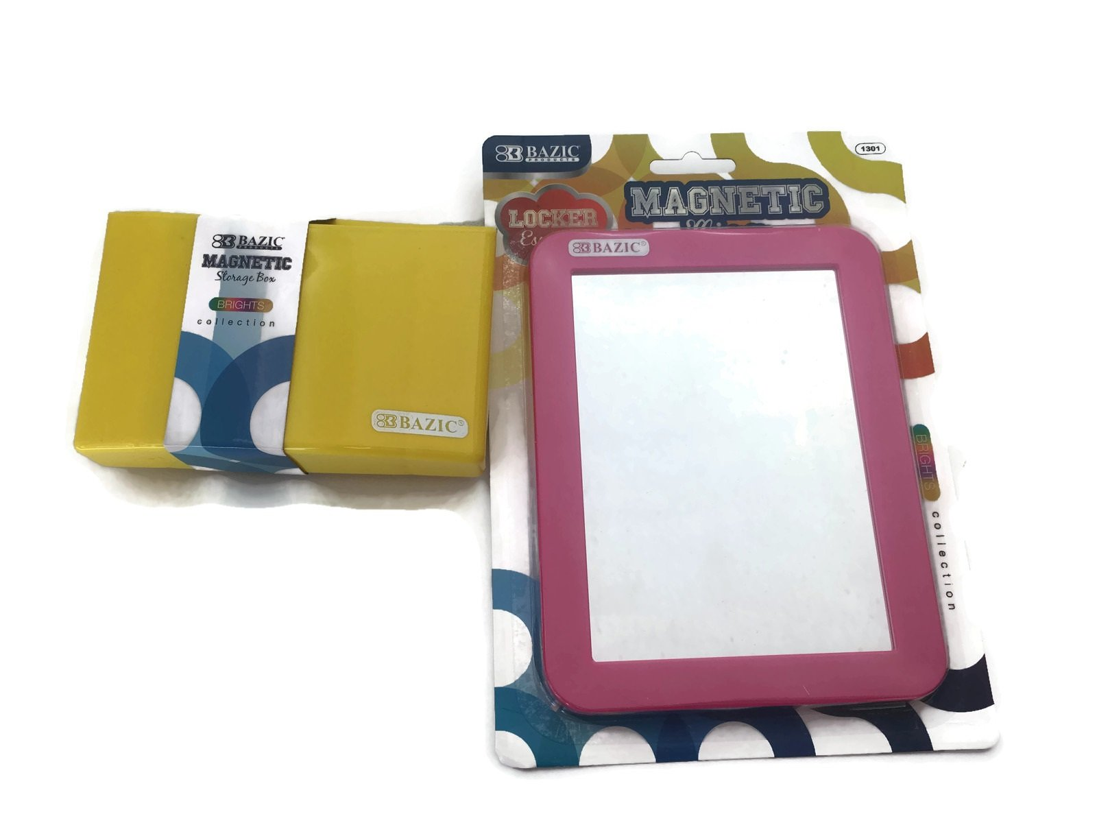 Pink And Yellow Locker Accessories - Locker Magnetic Mirror and Magnetic Storage Organizer (Pink And Yellow)