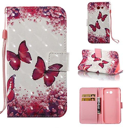 (Galaxy J7 V Case Case Wallet/Samsung Galaxy J7 Prime Case/J7 Sky Pro Case/J7 2017/J7 Perx/Galaxy Halo Case,Voanice Luxury PU Leather Card Slots Kickstand Flip Cover Protective&Stylus-Pink butterfly)