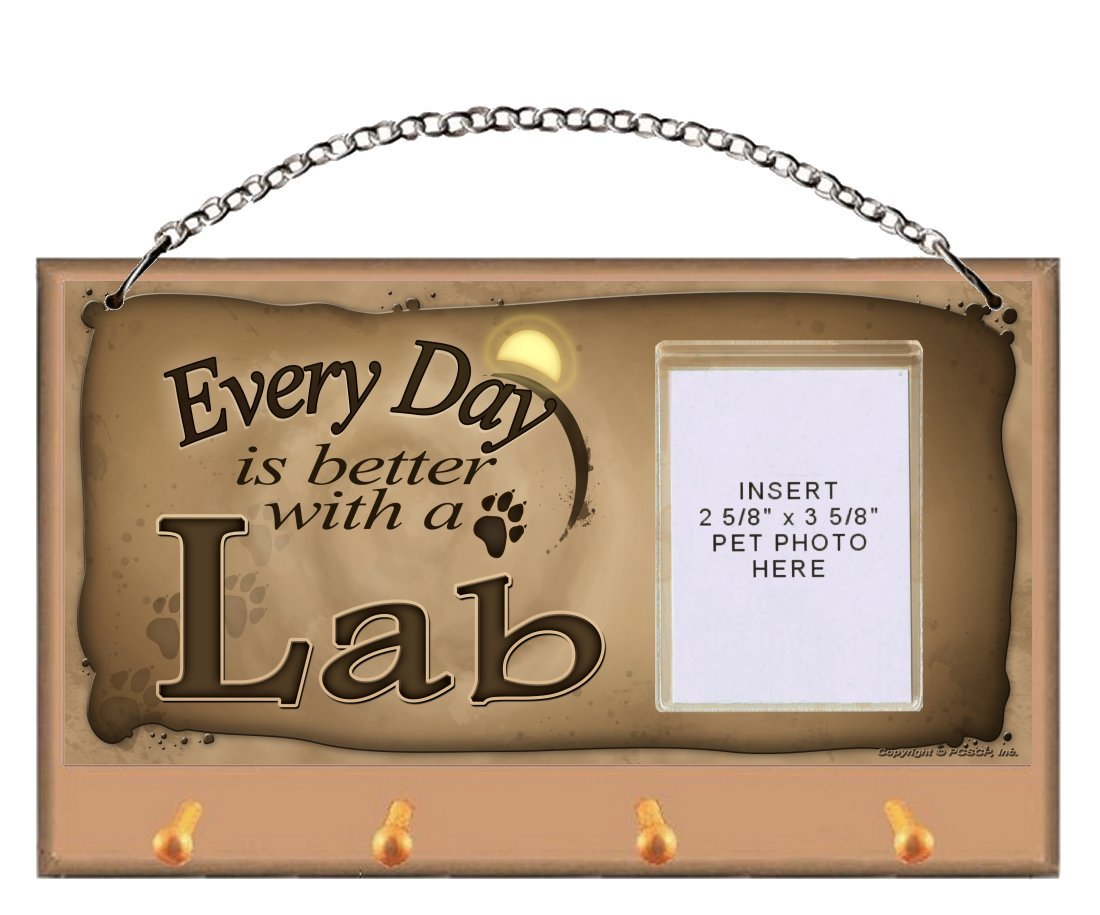 Yellow Labrador Retriever (Yellow Lab) ''Every Day is Better With a Lab'' Key and Leash Holder featuring Clear Pocket to Insert Your Photo by DGS Originals
