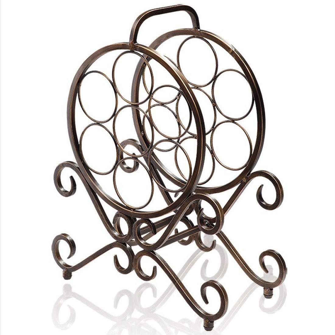 JPAKIOS ワインラッククリエイティブワインラックヴィンテージアイアンオーナメントファッションシンプルなワインボトルラック (色 : Copper) B07R5FDP8X Copper