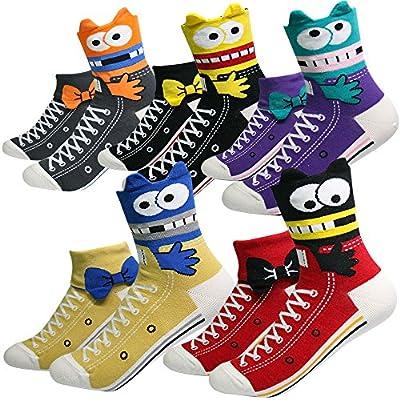 KONY Women's Girls Cute Animal Designed Funny Novelty Crew Socks, Cat Dog Owl Panda Pattern Gift Ideas Size 6-9