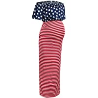 COLNER July 4th Dresses for Womens Pregnancy Maternity American Flags Print Off Shoulder Striped Sundress