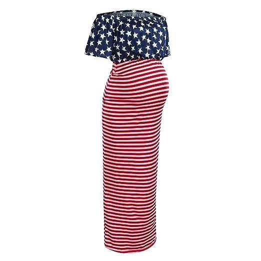 f4e116ba067a6 Maternity Summer Dress Women Pregnancy Off Shoulder American Flag Print  Long Dress at Amazon Women's Clothing store: