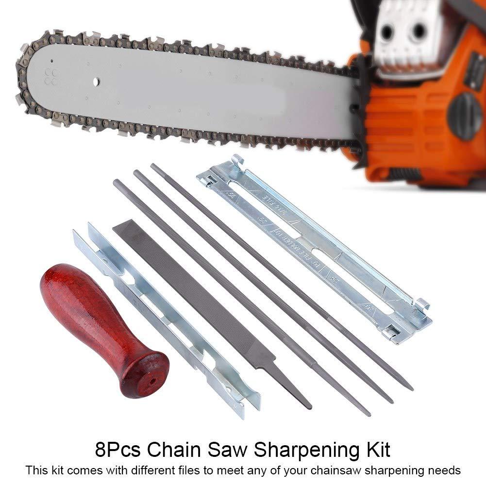 lima para afilador de motosierra acero al carbono 8 piezas Kit para afilar sierras de cadena juego de herramientas para medir la profundidad de la barra gu/ía