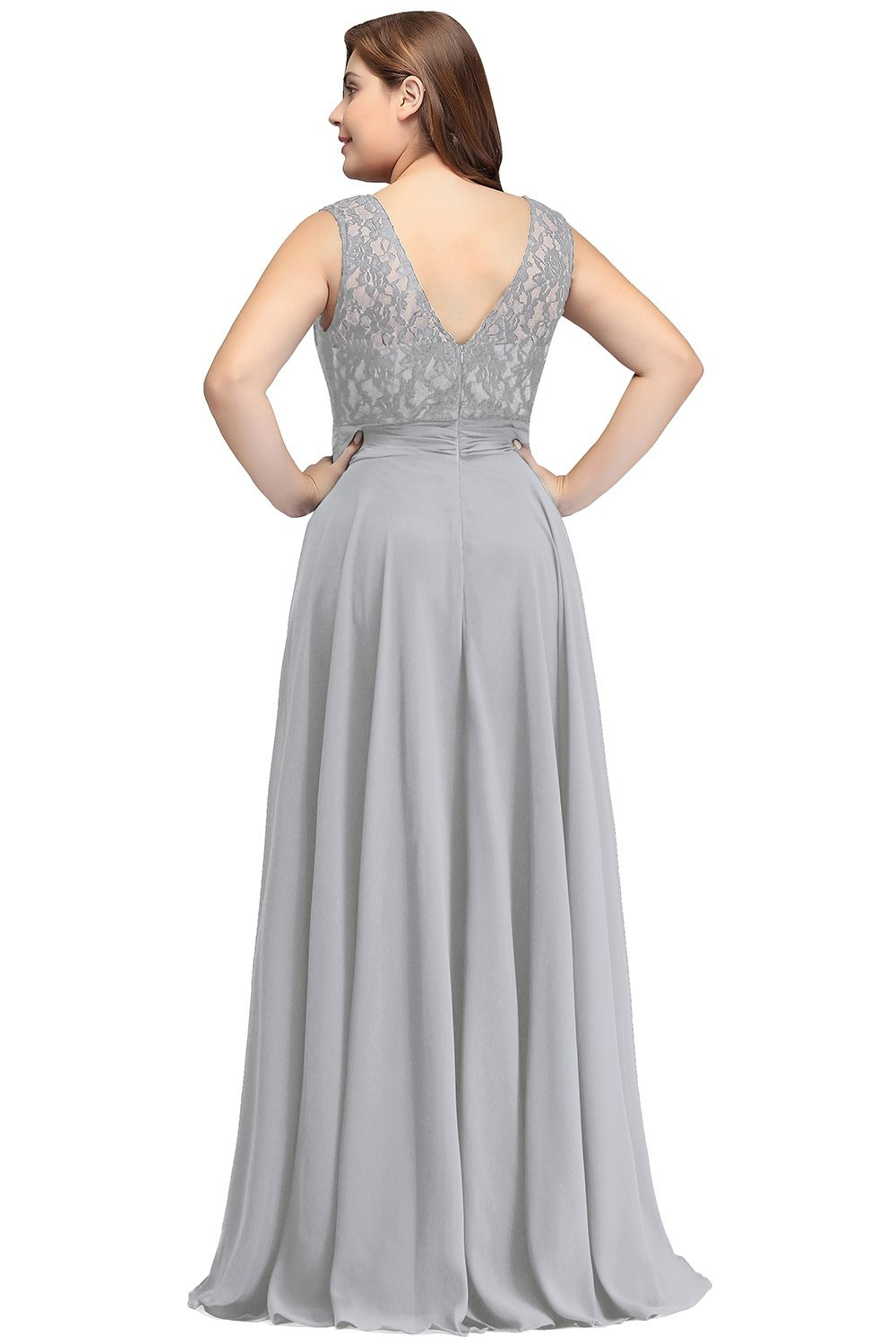 Lace Bridesmaid Dresses Plus Size Long Prom Evening Gowns for Women Silver  16W