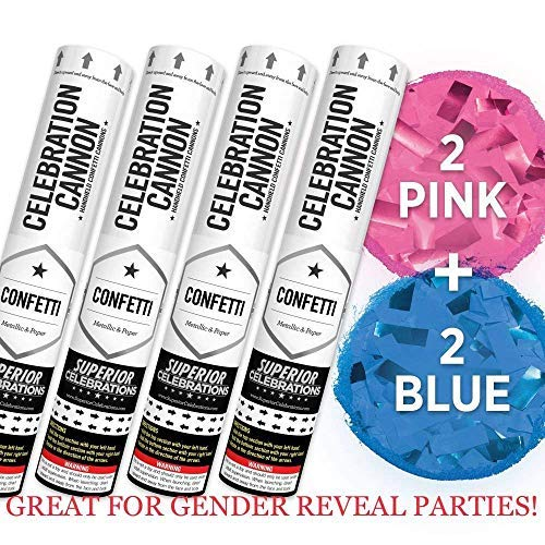 Baby Gender Reveal Confetti Launcher Cannon 4-Pack - Biodegradable Confetti (2 Pink and 2 Blue)