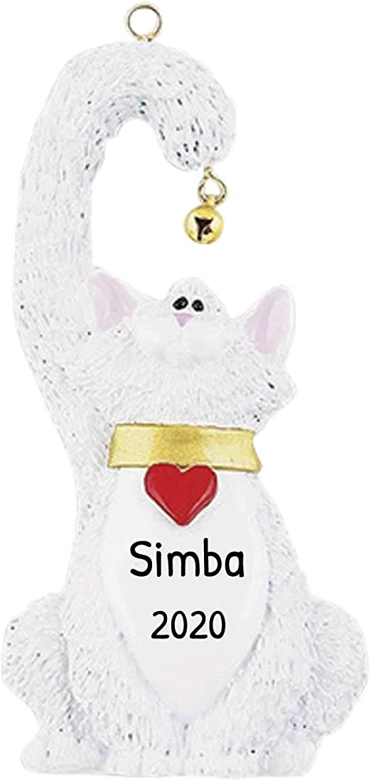 Cat Christmas Ornament 2020 Amazon.com: Personalized White Cat Christmas Tree Ornament 2020