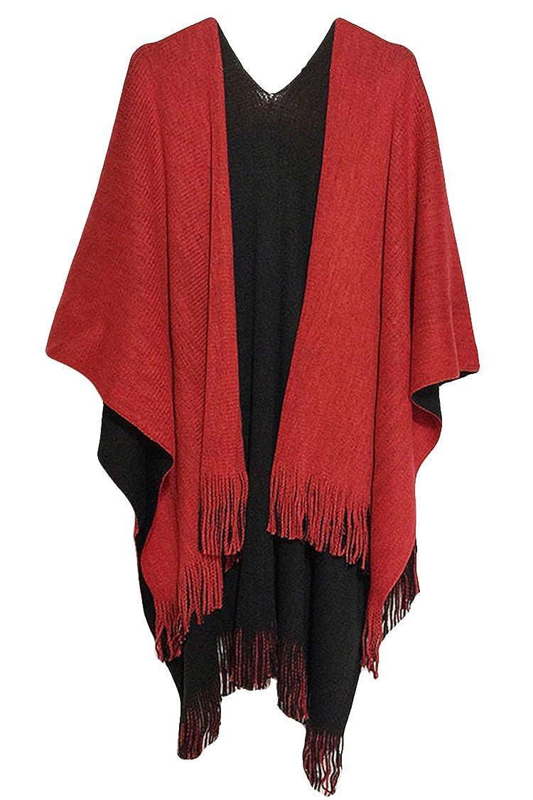 Amazon.com: VamJump Women Winter Knit Reversible Scarves Coat ...
